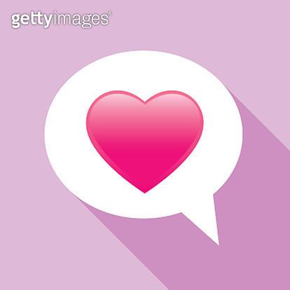 Pink Puffy Heart Speech Bubble - gettyimageskorea