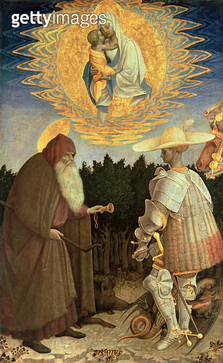 <b>Title</b> : The Virgin and Child with St. George and St. Anthony the Abbot (egg tempera on poplar)<br><b>Medium</b> : egg tempera on poplar<br><b>Location</b> : National Gallery, London, UK<br> - gettyimageskorea