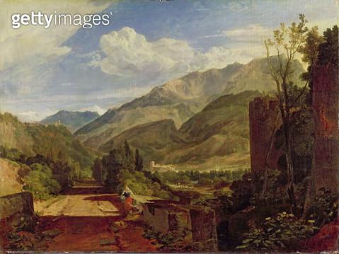 <b>Title</b> : Chateau de St. Michael, Bonneville, Savoy, 1803 (oil on canvas)<br><b>Medium</b> : oil on canvas<br><b>Location</b> : Yale Center for British Art, Paul Mellon Collection, USA<br> - gettyimageskorea