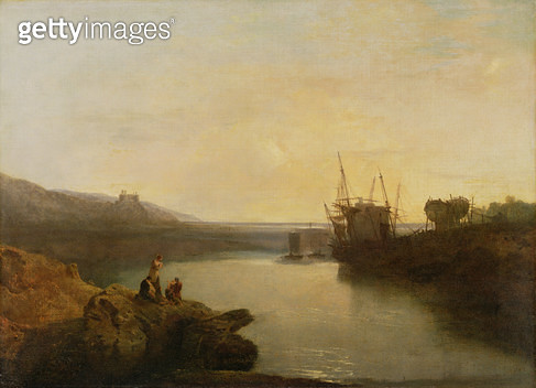 <b>Title</b> : Harlech Castle, from Twgwyn Ferry, Summer's Evening Twilight (oil on canvas)<br><b>Medium</b> : oil on canvas<br><b>Location</b> : Yale Center for British Art, Paul Mellon Collection, USA<br> - gettyimageskorea