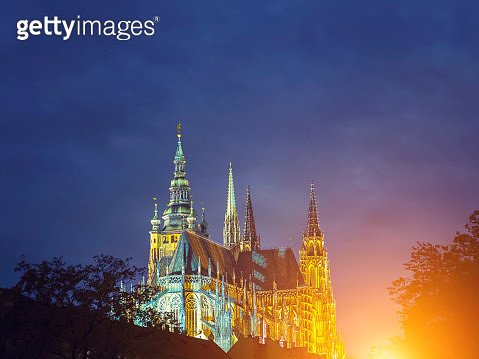 St. Vitus's Cathedral, Prague in the night - gettyimageskorea
