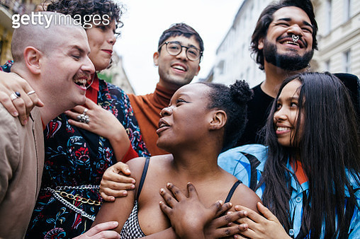 LGBTQ group on city street having fun. Part of the LGBTQ Portrait series. - gettyimageskorea