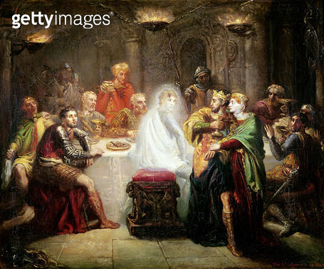 <b>Title</b> : The Ghost of Banquo (oil on canvas)<br><b>Medium</b> : oil on canvas<br><b>Location</b> : Musee des Beaux-Arts, Reims, France<br> - gettyimageskorea