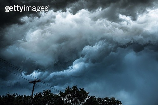 Silhouette Of Telephone Pole Against Sky - gettyimageskorea