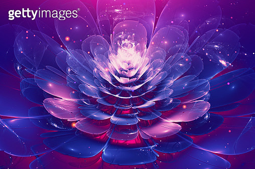 Violet and Blue glowing flower fractal with particles - gettyimageskorea