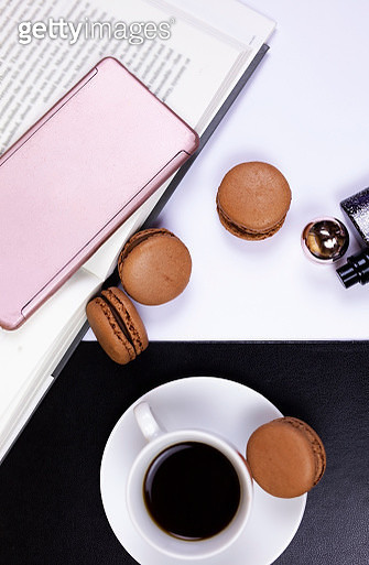Coffee Break with Macaroons and a Good Book - gettyimageskorea