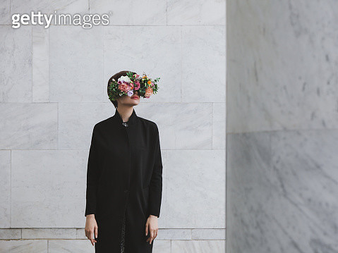 Woman with floral glasses - gettyimageskorea