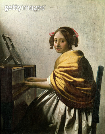 <b>Title</b> : Young Woman at a Virginal (oil on canvas)Additional Info(authenticity of this work is debated, but was included in 2001 Vermeer<br><b>Medium</b> : oil on canvas<br><b>Location</b> : Private Collection<br> - gettyimageskorea