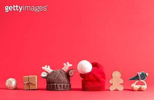 Knit winter hats on red - gettyimageskorea