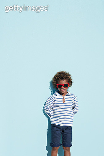 Portrait of cool boy with sunglasses - gettyimageskorea