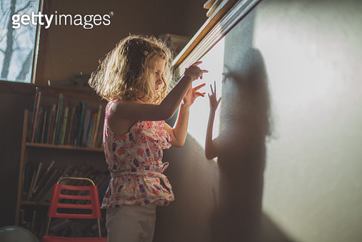 Little Girl and Her Shadow - gettyimageskorea