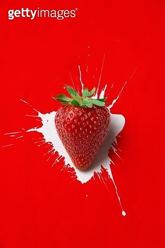 Directly Above Shot Of Strawberry On Red Background - gettyimageskorea