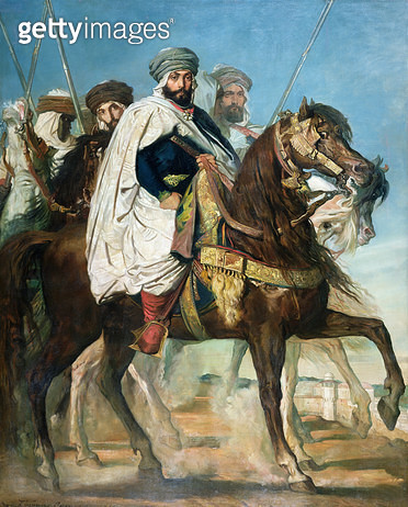 <b>Title</b> : Ali Ben Ahmed, the Last Caliph of Constantine, with his Entourage outside Constantine, 1845 (oil on canvas)<br><b>Medium</b> : oil on canvas<br><b>Location</b> : Chateau de Versailles, France<br> - gettyimageskorea