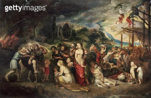 <b>Title</b> : Aeneas prepares to lead the Trojans into exile<br><b>Medium</b> : <br><b>Location</b> : Chateau de Fontainebleau, Seine-et-Marne, France<br> - gettyimageskorea