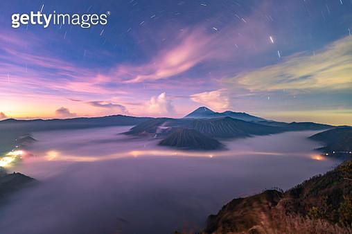 Star trail over Gunung Bromo Volcano on Java Island - gettyimageskorea