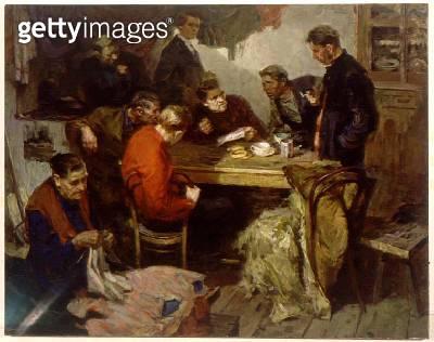 <b>Title</b> : The First Marxist Club in Russia, c.1955 (oil on canvas)<br><b>Medium</b> : oil on canvas<br><b>Location</b> : Springville Museum of Art, Utah, USA<br> - gettyimageskorea