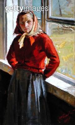 <b>Title</b> : Girl at Window, 1956 (oil on canvas)<br><b>Medium</b> : oil on canvas<br><b>Location</b> : Springville Museum of Art, Utah, USA<br> - gettyimageskorea