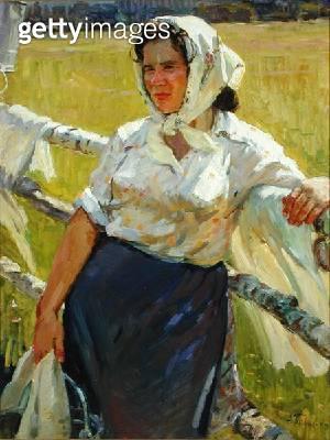 <b>Title</b> : Lastochkina the Milkmaid, or Milkmaid from Sverdlova, 1959 (oil on canvas)<br><b>Medium</b> : oil on canvas<br><b>Location</b> : Springville Museum of Art, Utah, USA<br> - gettyimageskorea