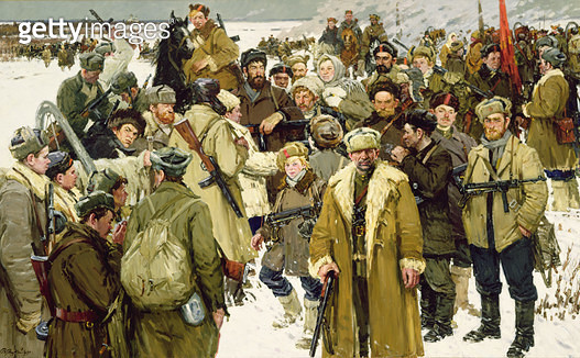 <b>Title</b> : The Impassioned Years: Partisans of Pskov, 1975-90 (oil on canvas)Additional Infoafter 900 days of siege from the German army, t<br><b>Medium</b> : oil on canvas<br><b>Location</b> : Springville Museum of Art, Utah, USA<br> - gettyimageskorea