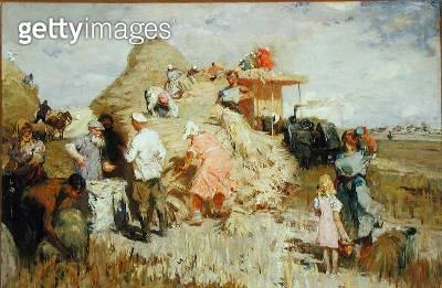 <b>Title</b> : Wheat Threshing, 1948 (oil on canvas)<br><b>Medium</b> : oil on canvas<br><b>Location</b> : Springville Museum of Art, Utah, USA<br> - gettyimageskorea