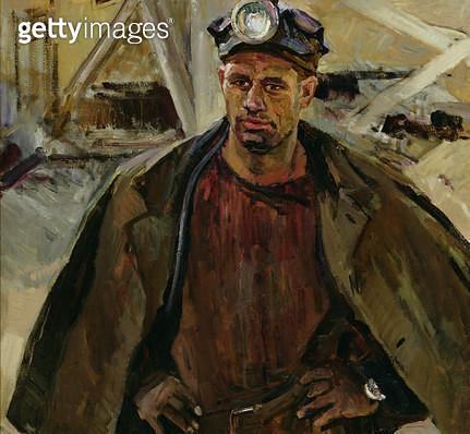 <b>Title</b> : Portrait of Aleksei Vladimirovich Kosov, Coal Miner at Mine No.5, City of Inta, 1963 (oil on canvas)<br><b>Medium</b> : oil on canvas<br><b>Location</b> : Springville Museum of Art, Utah, USA<br> - gettyimageskorea