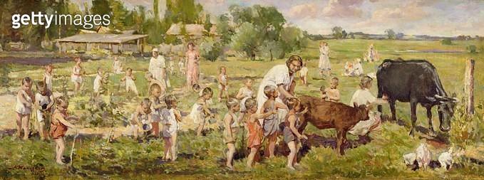 <b>Title</b> : Summer Kindergarten (Lenin's Children) 1955 (oil on canvas)<br><b>Medium</b> : oil on canvas<br><b>Location</b> : Springville Museum of Art, Utah, USA<br> - gettyimageskorea