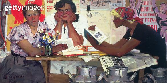 <b>Title</b> : Milkmaids, City of Volgograd, 1967 (oil on canvas)<br><b>Medium</b> : oil on canvas<br><b>Location</b> : Springville Museum of Art, Utah, USA<br> - gettyimageskorea