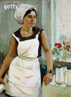 <b>Title</b> : Ludmilla, a Textile Worker, 1968 (oil on canvas)<br><b>Medium</b> : oil on canvas<br><b>Location</b> : Springville Museum of Art, Utah, USA<br> - gettyimageskorea