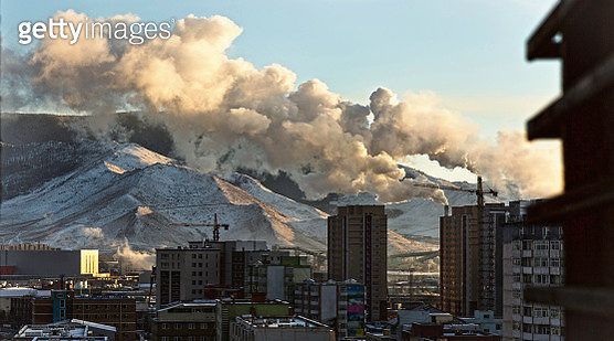 'Smoke from chimneys in the city, Mongolia' - gettyimageskorea