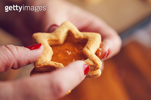 Star Shaped Christmas Cookies with Marmalade - gettyimageskorea