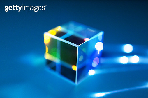 Optical fiber connected to cube prism - gettyimageskorea