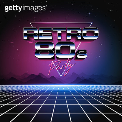 A retro 1980s style design, featuring glowing grid lines, shiny typography and colorful neon glows. Set against the stars and night sky, this is an ideal design element for your 80s themed party, poster or design project. All elements of this vector illus - gettyimageskorea