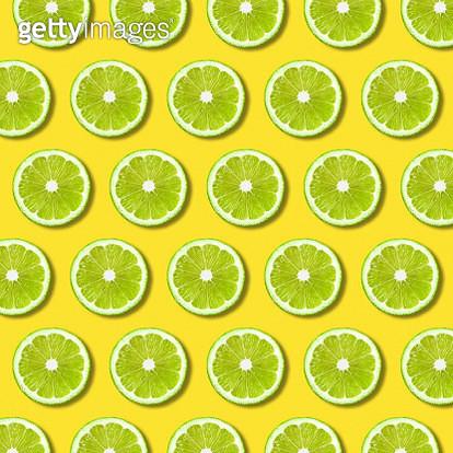 Full Frame Shot Of Lemon Slices On Yellow Background - gettyimageskorea
