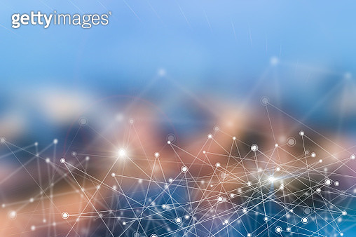 Digital Composite Image Of Lines Interconnecting With Dots Against Blue Sky - gettyimageskorea