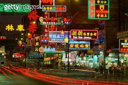 Long-exposure neon advertising signs, Hong Kong - gettyimageskorea