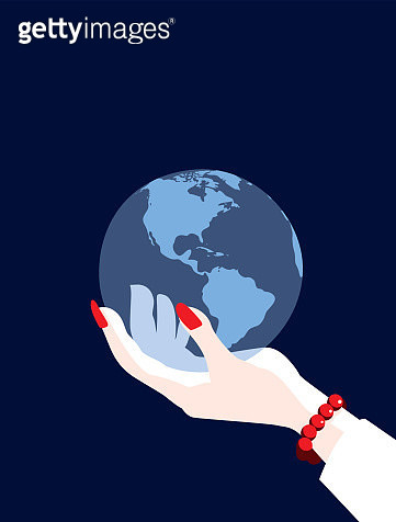 Businesswoman's Hand World Holding Globe Map Showing The Americas - gettyimageskorea