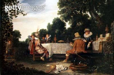 <b>Title</b> : Party in the Garden, 1619 (oil on canvas)<br><b>Medium</b> : oil on canvas<br><b>Location</b> : Frans Hals Museum, Haarlem, The Netherlands<br> - gettyimageskorea