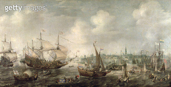 <b>Title</b> : The Arrival of Fredrick V at Vlissingen in 1613 (oil on canvas)<br><b>Medium</b> : <br><b>Location</b> : Frans Hals Museum, Haarlem, The Netherlands<br> - gettyimageskorea