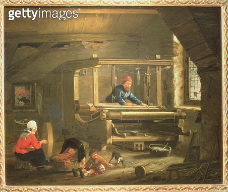 <b>Title</b> : The Workshop of a Weaver, 1656 (oil on canvas)<br><b>Medium</b> : <br><b>Location</b> : Frans Hals Museum, Haarlem, The Netherlands<br> - gettyimageskorea