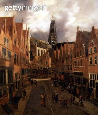 <b>Title</b> : View of the 'Grote Houtstraat' (Great High Street) in Haarlem (oil on canvas)<br><b>Medium</b> : oil on canvas<br><b>Location</b> : Frans Hals Museum, Haarlem, The Netherlands<br> - gettyimageskorea