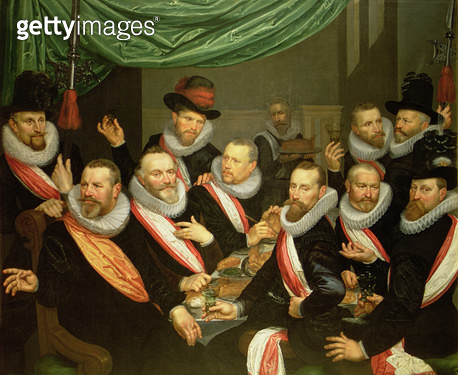 <b>Title</b> : Banquet of the Officers and Subalterns of the Civil Guard of San Jorge, 1618 (oil on canvas)<br><b>Medium</b> : <br><b>Location</b> : Frans Hals Museum, Haarlem, The Netherlands<br> - gettyimageskorea