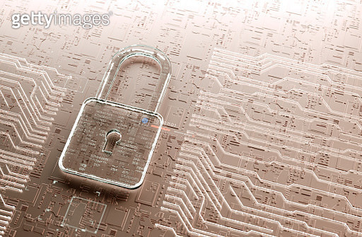 Digital encrypted Lock with data multilayers. Internet Security - gettyimageskorea