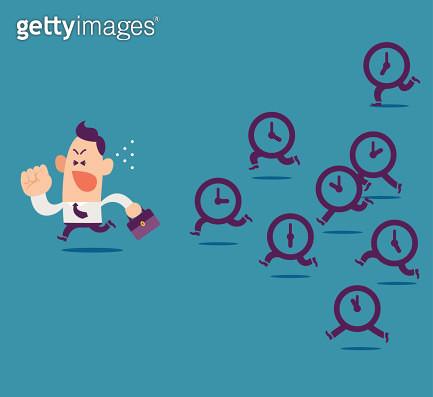 Clocks pursuing after a businessman. - gettyimageskorea