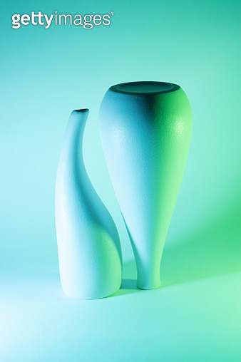 Two Vases with Blue and Green Gradient Colored Light Effect. - gettyimageskorea