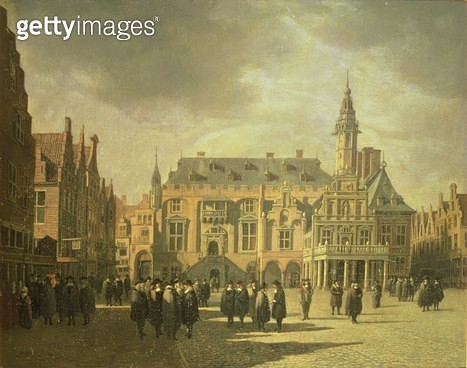 <b>Title</b> : View of the Town Hall in the Market Square of Haarlem, 1671 (oil painting)<br><b>Medium</b> : <br><b>Location</b> : Frans Hals Museum, Haarlem, The Netherlands<br> - gettyimageskorea