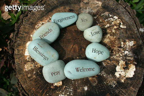 River Stones with Words - gettyimageskorea