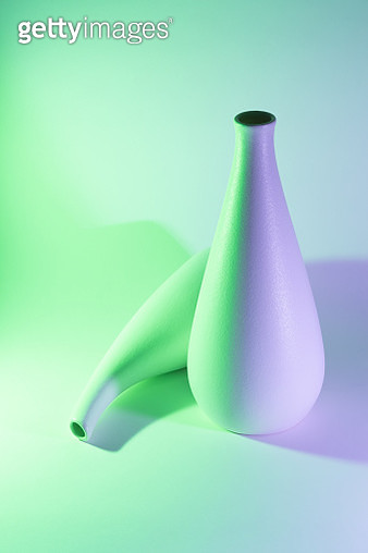 Two Vases with Green and Purple Gradient Colored Light Effect. - gettyimageskorea