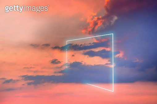 Poetic neon square light between the clouds in beautiful sunset sky. - gettyimageskorea