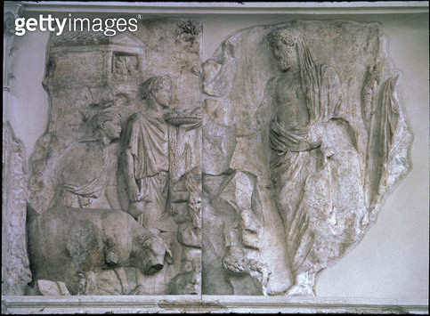 <b>Title</b> : The Sacrifice of Aeneas, Roman, 13-9 BC (carrara marble)<br><b>Medium</b> : <br><b>Location</b> : Ara Pacis (Altar of Peace), Rome, Italy<br> - gettyimageskorea