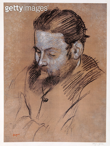 <b>Title</b> : Portrait of Diego Martelli, 1879 (chalk on paper)<br><b>Medium</b> : chalk on paper<br><b>Location</b> : Private Collection<br> - gettyimageskorea
